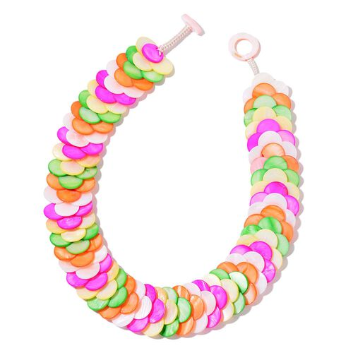 Designer Inspired-Multi Colour Shell Coin Necklace (Size 18) 637.000 Ct.