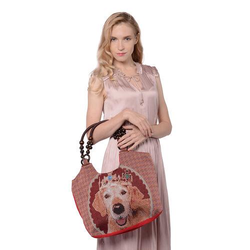 Dog Pattern Jute Handbag (38x11x29cm) - Reddish Brown Colour