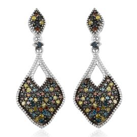 Multi Colour Diamond (Rnd) Earrings (with Push Back) in Platinum Overlay Sterling Silver 0.755 Ct. N