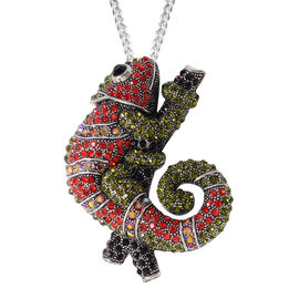 Multi Color Austrian Crystal Chameleon Brooch or Pendant With Chain (Size 24) in Silver Plated