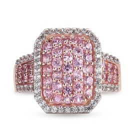 Pink Sapphire and Natural Cambodian Zircon Cluster Ring in Rose Gold Overlay Sterling Silver 2.15 Ct