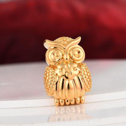 Charmes De Memoire - 14K Gold Overlay Sterling Silver Owl Charm, Silver wt 3.00 Gms