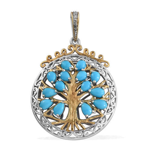 Arizona Sleeping Beauty Turquoise (Pear) Tree of Life Pendant in Platinum and Yellow Gold Overlay St