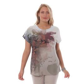Jovie Floral Pattern Low Sleeve Blouse in Grey