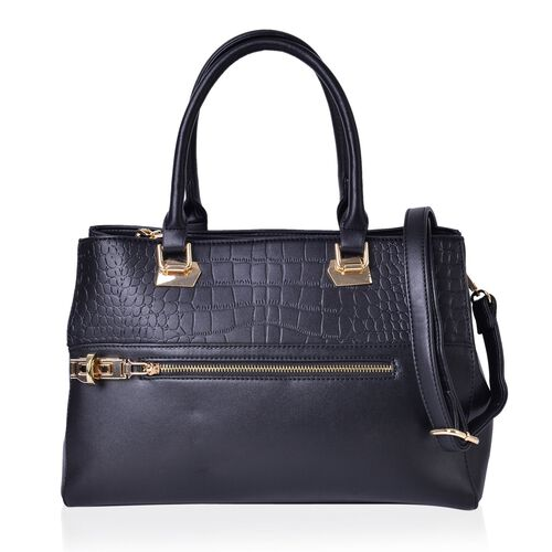 Croc Embossed Black Colour Tote Bag with 2 External Zipper Pockets and Adjustable and Removable Shoulder Strap (Size 34X25X13.5 Cm)