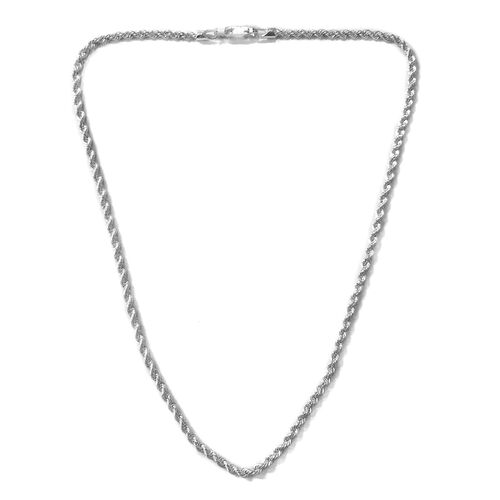JCK Vegas Collection - Rhodium Plated Sterling Silver Rope Chain (Size 16), Silver wt. 9.31 Gms.