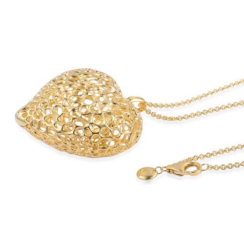 RACHEL GALLEY Yellow Gold Overlay Sterling Silver Amore Heart with Pebble Heart Inside Necklace (Size 30), Silver wt. 32.70 Gms.