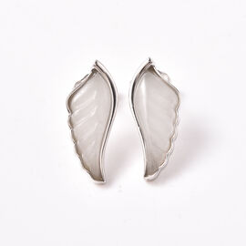 Isabella Liu Angel Wing Collection - Carved White Jade Earrings (with Push Back) in Rhodium Overlay