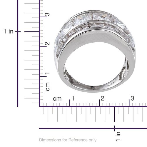 J Francis - Platinum Overlay Sterling Silver (Sqr) Half Eternity Band Ring Made with SWAROVSKI ZIRCONIA 5.040 Ct.