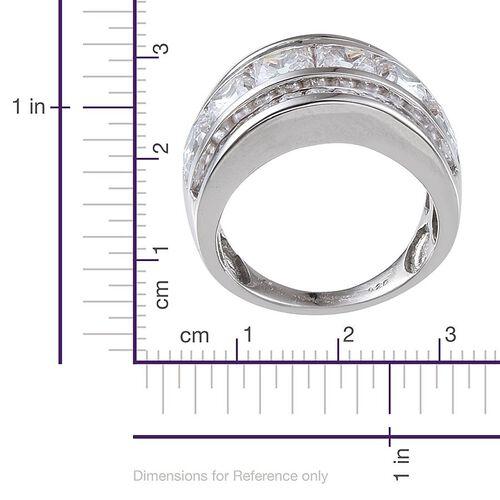 J Francis - Platinum Overlay Sterling Silver (Sqr) Half Eternity Band Ring Made with SWAROVSKI ZIRCONIA