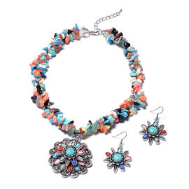 2 Piece Set - Multi-Colour Howlite and Multi Gemstone Hook Earrings and Necklace (Size 18 with 2.5 I