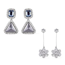 Set of 2 - Simulated Diamond (Rnd), Simulated Grey Spinel, White Austrian Crystal and Simulated Blue