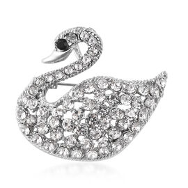 Black and White Austrian Crystal Swan Brooch in Silver Tone