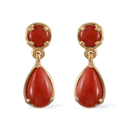 Mediterranean Coral (2.32 Ct) 14K Gold Overlay Sterling Silver Earring  2.320  Ct.