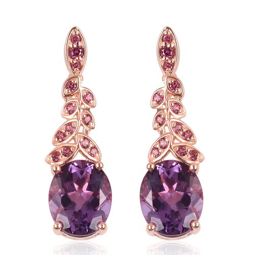 Rose De France Amethyst (Ovl), Rhodolite Garnet Earrings (with Push Back) in Rose Gold Overlay Sterling Silver 7.170 Ct.