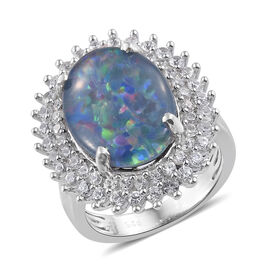 Australian Boulder Opal (Ovl 16x12 mm), Natural Cambodian Zircon Ring in Platinum Overlay Sterling S