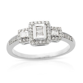 ILIANA 18K White Gold IGI Certified Diamond (Bgt and Rnd) (SI /G-H) Ring 0.500 Ct.