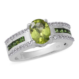 2.82 Ct Hebei Peridot and Multi Gemstone Trilogy Ring in Rhodium Plated Sterling Silver 5.05 Grams