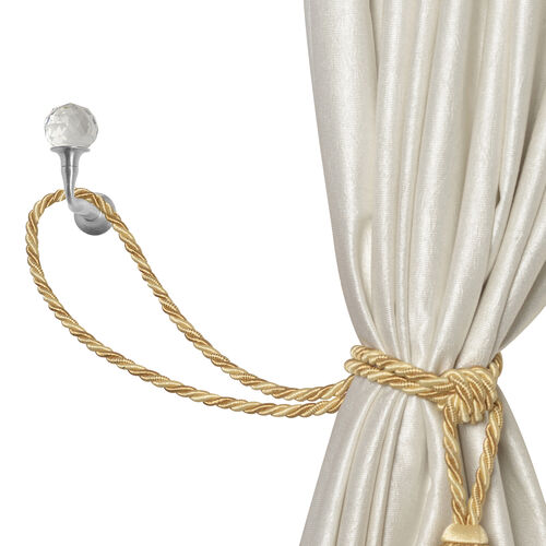 Pair of Silver Colour Curtain Tieback Hooks with Crystal (Size 6.5X4.75 Cm)