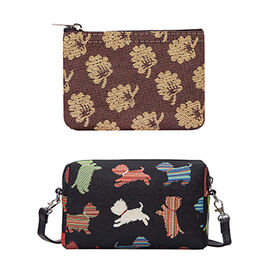 Signare Tapestry - Party Bag in Playful Puppy Design (20 x 12 x 9.5 Cm) with Free Zip Coin Purse