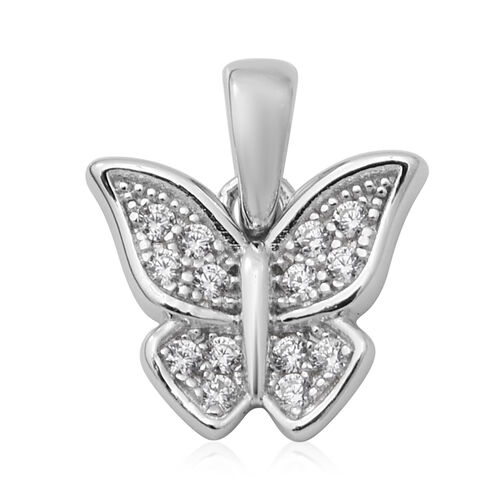 ELANZA Simulated Diamond Butterfly Pendant in Rhodium Overlay Sterling Silver