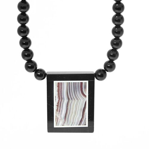 Black Agate and Lace Agate Necklace (Size 18) in Stainless Steel 160.000 Ct.