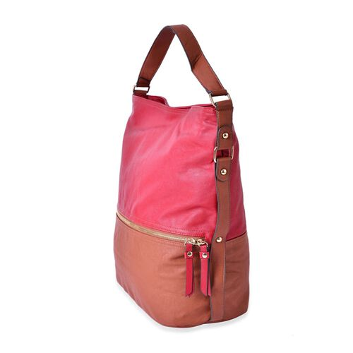 (CLOSEOUT DEAL) Red and Brown Colour Shoulder Bag with External Zipper Pocket (Size 36x30x16.5 Cm)