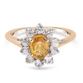 9K Yellow Gold AA Yellow Sapphire and Natural Cambodian Zircon Ring 1.45 Ct