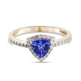 9K Yellow Gold AAA Tanzanite and Diamond (I4) Ring 1.00 Ct.