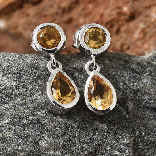WEBEX- Brazilian Citrine (Pear) Earrings with Push Back in Platinum Overlay Sterling Silver 1.250  Ct.