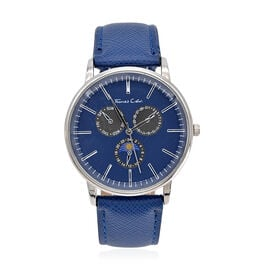 Thomas Calvi Blue Faux Multi Dial Watch in Silver Tone with Blue Strap