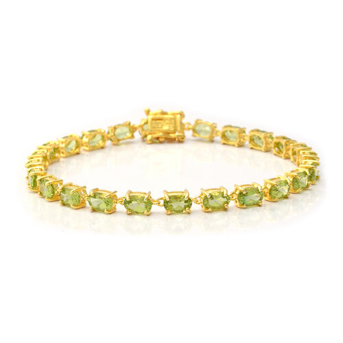 11.28 Ct AA Hebei Peridot Tennis Bracelet in Yellow Gold Plated Sterling Silver 7.5 Inch