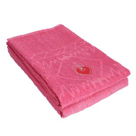 Set of 2 - 100% Cotton Embroidered Terry Bath Towel. Size: 75 x 150 cms. Color: Pink.