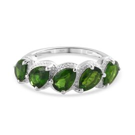 Russian Diopside 5-Stone Ring in Sterling Silver 2.00 Ct.