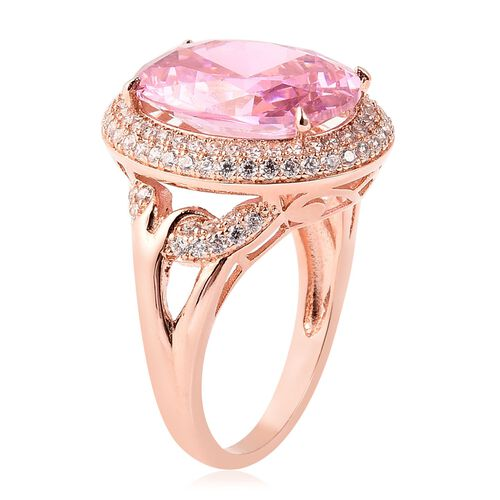 Simulated Pink Sapphire and Simulated Diamond Ring in Rose Gold Tone