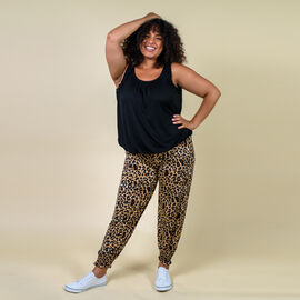TAMSY One Size Leopard Pattern Trousers (Size:M/L,10-16) - Brown and Black