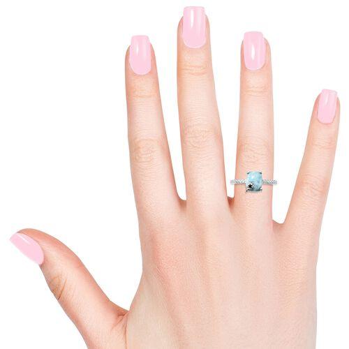 Larimar (Cush), Kanchanaburi Blue Sapphire Ring in Sterling Silver 3.250 Ct.