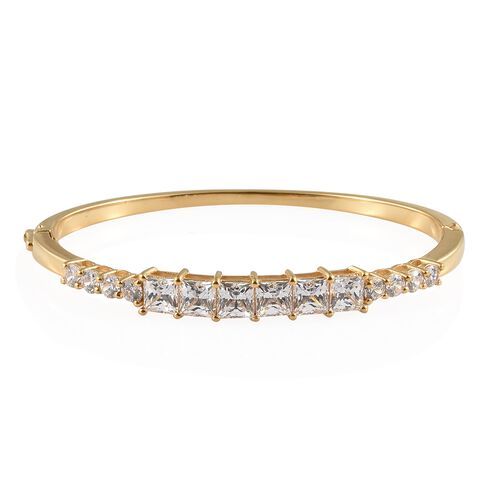 J Francis 14K Gold Overlay Sterling Silver Bangle (Rnd and Sqr) (Size 7.5) Made with SWAROVSKI ZIRCO