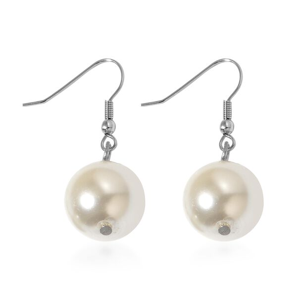 2 Piece Set -  White Pearl Glass Earring and Necklace 624.00ct