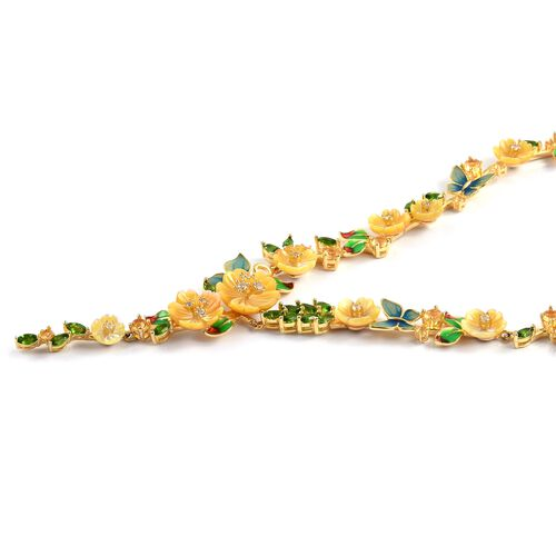 Jardin Collection - Yellow Mother of Pearl, Citrine, Russian Diopside Multi Gemstone Necklace (Size 17 with 3 inch Extender) in Yellow Gold Overlay Sterling Silver, Number of Gemstone 104