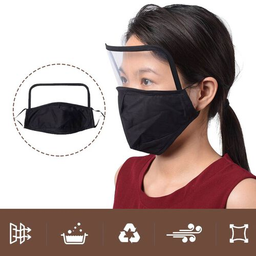Reusable Face Covering with Eye Shield and Adjustable Ear Loop (Size 22x18cm) - Black