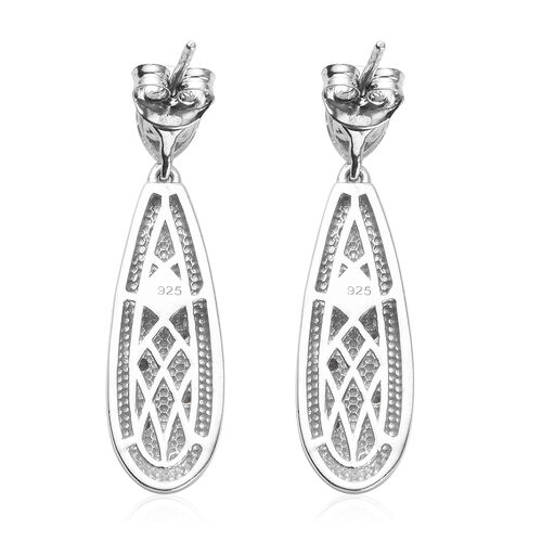 J Francis - Platinum Overlay Sterling Silver Earrings (with Push Back) Made with SWAROVSKI ZIRCONIA 2.63 Ct.