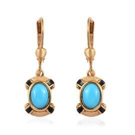 1.50 Ct Arizona Sleeping Beauty Turquoise Enamelled Drop Earrings in Gold Plated Sterling Silver