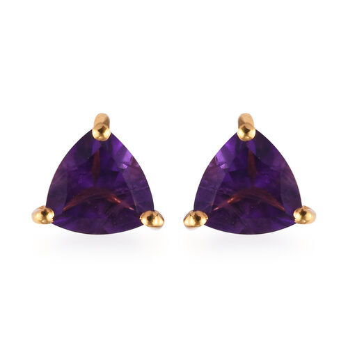 Amethyst Stud Earrings (with Push Back) in 14K Gold Overlay Sterling Silver 1.25 Ct.