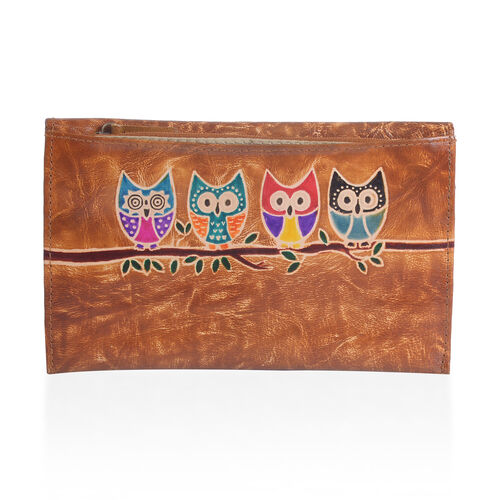 100% Genuine Leather Tan Colour Hand Painted Owl Pattern Wallet with  RFID Blocking (Size 20.25x13 Cm)