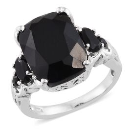 Black Tourmaline (Cush 11.35 Ct), Boi Ploi Black Spinel Ring in Platinum Overlay Sterling Silver 12.