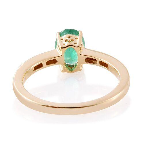 ILIANA 18K Yellow Gold AAA Boyaca Colombian Emerald (Ovl 1.06 Ct), Diamond (SI/G-H) Ring 1.150 Ct.