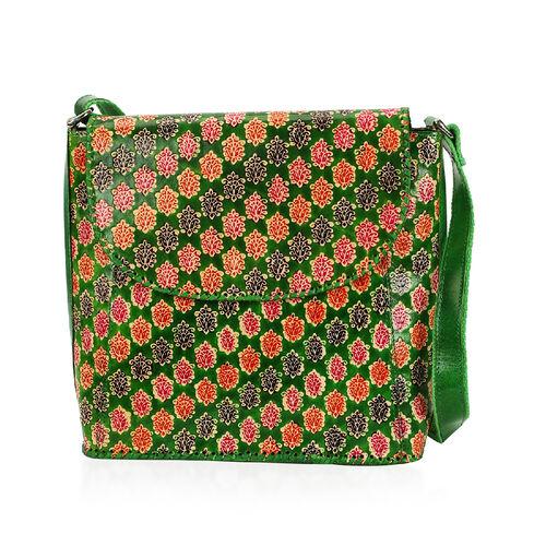 SUKRITI 100% Genuine Leather Floral Pattern Crossbody Bag (Size 28x33x11 Cm) - Green