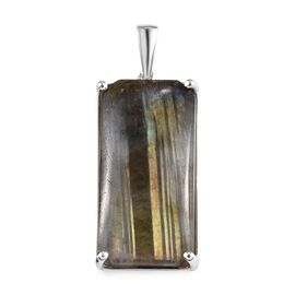 Labradorite (Oct 30x15 mm) Solitaire Pendant in Sterling Silver 30.00 Ct, Silver wt 3.24 Gms