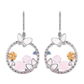 Multi Gem Stone Sterling Silver Earring  6.465  Ct.